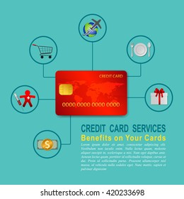 Infographics of credit card, benefit for credit card, online payment, Vector illustration