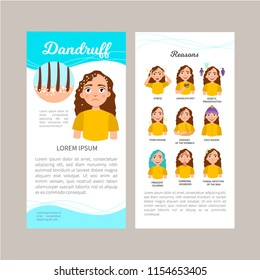 Infographics of dandruff. Statistics, causes, treatment of the disease. Illustration of a cute sad girl. Concept flyer.
