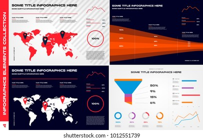 Infographics design elements collection. Element of chart, graph, diagram with many options - parts, processes, timeline. Vector business template for presentation, workflow layout. Big set
