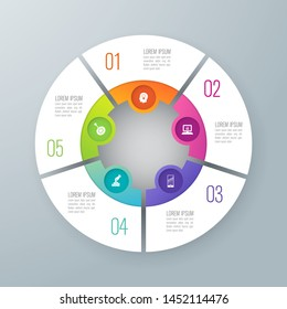 Infographics design paper art style and marketing icons can be used for workflow layout, diagram, annual report, web design. Business concept with 5 options, steps or processes.