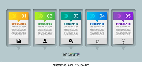 Infographics design template, 3D Business concept with 5 steps or options, can be used for workflow layout, diagram, annual report, web design.Creative banner, label vector.