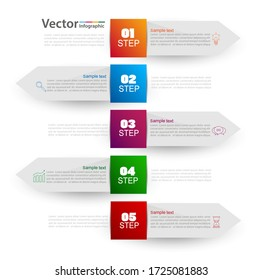Infographics design template with 5  steps, can be used for workflow layout, diagram, number options, web design.