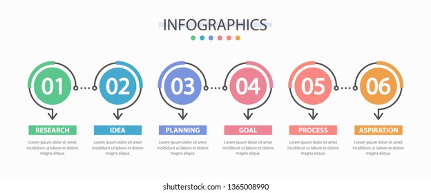 Infographics design template with 6 options or steps. Infographics for business concept, presentation, workflow layout.