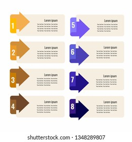 Infographics design template with eight colorful arrows for bisness presentation. Flat illustration.
