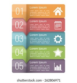 Infographics design template with five elements, text boxes with numbers and icons, vector eps10 illustration