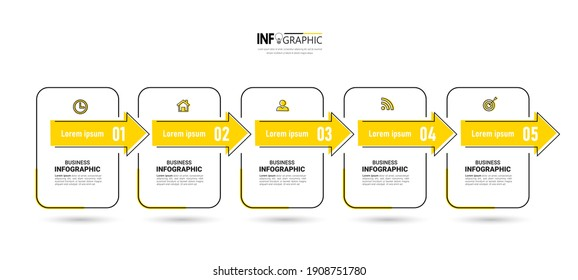 Infographics design template, Thin line concept with 5 steps. Minimal infographic timeline. Vector illustration.