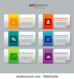 Infographics design template,3D Business concept with 6 steps or options, can be used for workflow layout, diagram, annual report, web design.Creative banner,label vector