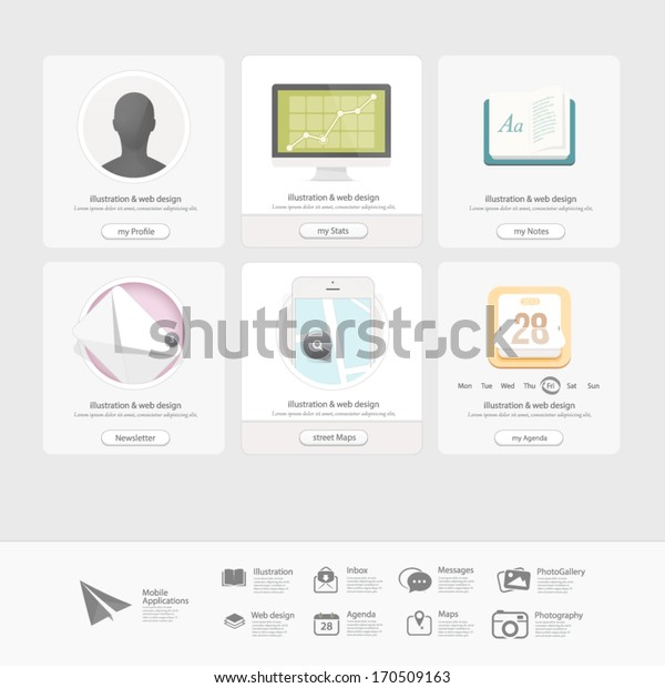Infographics design UI Elements: Collection of colorful flat kit UI navigation elements with icons for personal portfolio website templates