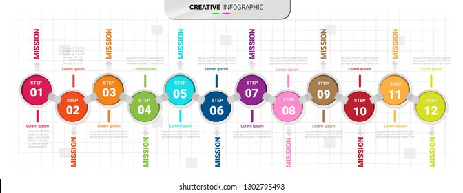 Infographics design vector 12 steps, Time line for 1 year, 12 months, Presentation business can be used for Business concept with 12 options, steps or processes.