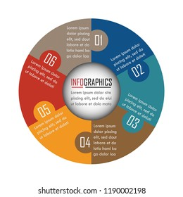 Infographics design vector can be used for workflow layout, diagram, annual report, web design. Business concept with 6 options, steps or processes. Vector EPS 10