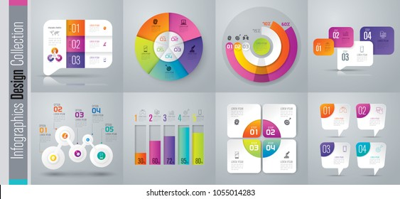 Infographics design vector and marketing icons can be used for workflow layout, diagram, annual report, web design. Business concept with 3, 4 and 5 options, steps or processes.