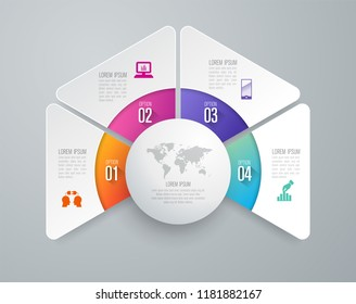 Infographics design vector and marketing icons can be used for workflow layout, diagram, annual report, web design. Business concept with 4 options, steps or processes.