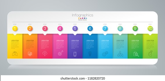Infographics design vector and marketing icons can be used for workflow layout, diagram, annual report, web design. Business concept with 10 options, steps or processes.