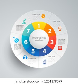 Infographics design vector and marketing icons can be used for workflow layout, diagram, annual report, web design. Business concept with 7 options, steps or processes.