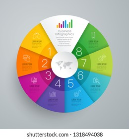 Infographics design vector and marketing icons can be used for workflow layout, diagram, annual report, web design. Business concept with 8 options, steps or processes.