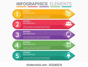 INFOGRAPHICS element abstract design the number top five timeline template