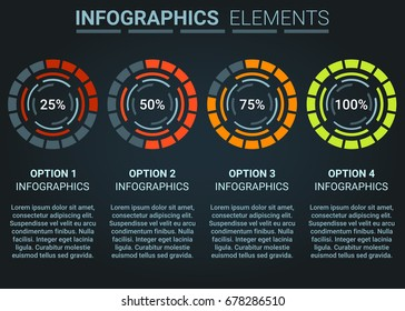 INFOGRAPHICS element abstract design progress loading circle ,Set of indicator concept template