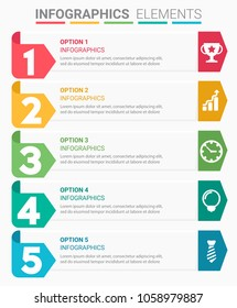 INFOGRAPHICS element abstract modern design the numbers top five template