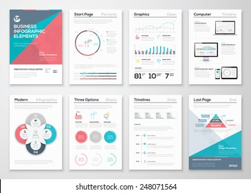 Infographics elements for business brochures and presentations. Ecology concept to visualize environmental concept. Fully editable vector illustration.