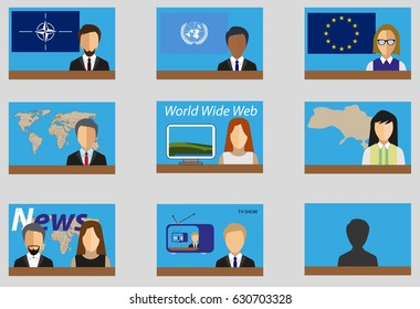 Infographics elements with computers and people, flags, Earth map, news