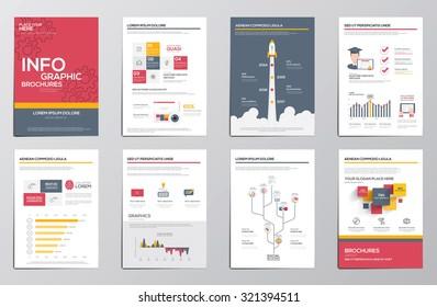 Infographics elements for corporate brochures. Flat design. Vector