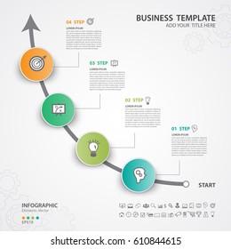 Infographics elements diagram with 4 steps, options, Vector illustration, Circle 3d icon, presentation,  advertisment, Process chart, business flyer, banner design, web design, timeline, silde