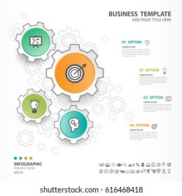Infographics elements diagram with 4 steps, options, Vector illustration, Gear 3d icon, presentation,  advertisment, Process chart, business flyer, banner design, web design, timeline, silde