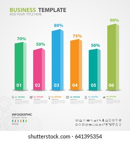 Infographics elements diagram with 6 steps, options, Vector illustration, Rectangular 3d icon, presentation,  advertisment, Process chart, business flyer, banner design, web design, timeline, silde