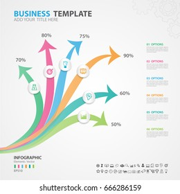 Infographics elements diagram with 6 steps, options, Vector illustration, Arrow icon, presentation template, advertisment layout, Process chart, business flyer, banner design, web design, timeline