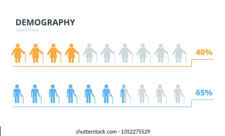 Infographics elements elderly people