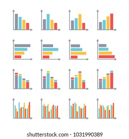 Infographics Elements in Modern Flat Business Style. Graphics for Data Visualization.