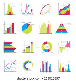 Infographics Elements in Modern Flat Business Style. Graphics for Data Visualization. Bar Diagrams, Pie Charts , Graphs showing growth. Icons Set Isolated on White. Vector illustration.