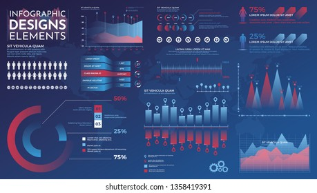 Infographics elements. Modern infographic vector template with statistics graphs and finance charts. Diagram template and chart graph, graphic information visualization illustration