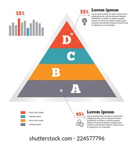 Infographics elements. Pyramid chart. Modern flat banner with four options. Vector illustration. EPS10