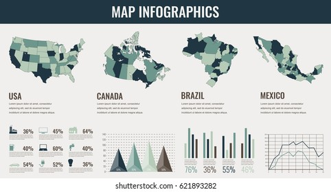 Infographics Elements set with collection Maps of America. USA, Canada, Brazil, Mexico infographics maps. Vector illustration