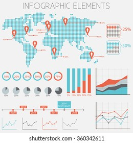 infographics Elements Set - Flat Design - vector eps10
