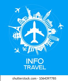 Infographics elements: Travel and Famous Landmarks. A set of elements for travel and vacations. Bright color image on a black background. File is saved in AI10 EPS version.