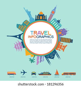 Infographics elements: Travel and Famous Landmarks. Travel concept with stylish colorful icons