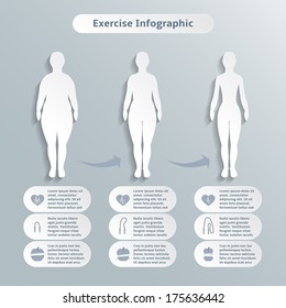 Infographics elements for women fitness and sports of slimness weight loss and healthcare vector illustration