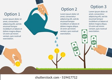 Infographics financial profit growth. Growth process money. Business start-up. Monetary contributions. Business development, revenue, metaphor. Earning, investment. Vector flat design.