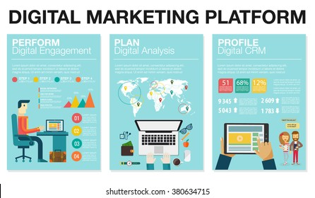 Infographics in flat style. Vector illustration about digital projects, management, engagement, analysis, communication. Use in website, corporate report, presentation, advertising, marketing platform