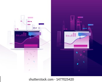 Infographics floating over the laptop screen on the cityscape background. Business and statistics. Flat vector illustrations.