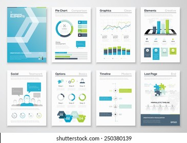 Infographics flyer and brochure designs and web templates vectors. Data visualization and statistic elements for print, website, corporate reports and graphic projects.