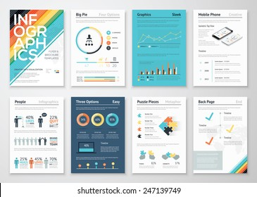 Infographics flyer and brochure elements for business data visualization. Vector illustration in modern flat info graphic style, that can be used for marketing, websites, print, presentation & mobile.