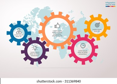 Infographics in the form of gears. Abstract element of chart, graph, diagram with 5 options, parts, processes. Vector business template for presentation and training.