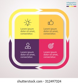 Infographics in the form of a square with rounded edges and external arrows. Abstract chart, graph, diagram with 4 steps, options, parts, processes. Vector template for presentation.