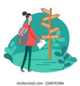 Infographics with girl at signpost in minimalist style. Vector flat illustration of woman traveling in Italy. Used for web users app.
