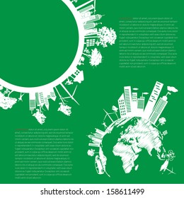 infographics Green modern city living concept. and ECO concept