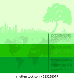 infographics Green modern city living concept