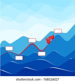 Infographics with growing indicators in the form of a ship on waves. Graph of growth or increase in value